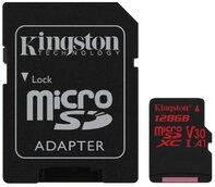Карта памяти Kingston micro. SDHC/SDXC UHS-i U3 Class 10 Canvas React R100/W80MB/s SD-адаптер 128Gb